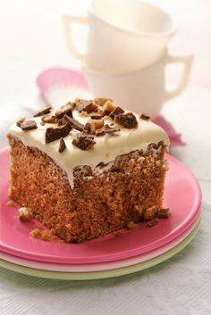 "Quick and easy, this homey cake is rich in coffee, toffee and caramel flavors. One Betty member says, ""Very easy to make and it makes a great impression!"""