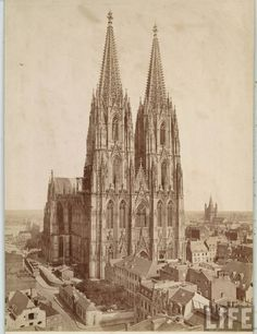 Cologne Cathedral is a Roman Catholic church in Cologne. It is Germany's most visited landmark, attracting an average of 20,000 people a day.  Construction of Cologne Cathedral commenced in 1248 but was halted in 1473. Work recommenced in the 19th century; completed, to the original plan, in 1880. The cathedral is the largest Gothic church in Northern Europe and has the second-tallest spires and largest façade of any church in the world.  Survived WWII when the rest of Cologne was in ruins.