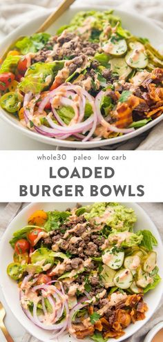 "These loaded burger bowls with pickles, bacon, a quick guacamole, and a ""special sauce"" are so good! Whole30, paleo, and low carb, they're filling and healthy - a great alternative to the lettuce wrap burger! #whole30 #paleo"