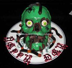 Homemade Evil Skull Birthday Cake... This website is the Pinterest of halloween cakes
