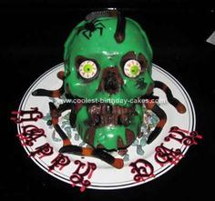 Homemade Evil Skull Birthday Cake... This website is the Pinterest of halloween cakes