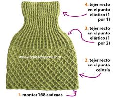 Short coat or poncho with long neck knitted crochet! uses of wool that is for hook and use a hook on project.There are charts and some explanation from a Spanish site. Crochet Capas, Knitted Shawls, Knitted Scarves, Cowl, Knit Crochet, Turtle Neck, Diy Crafts, Knitting, Google
