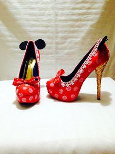 Minnie Mouse Custom  Rhinestone Heels/ Wedding/ Prom/ Party/ Cosplay on Etsy, £91.46