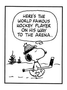Here's the world famous hockey player on his way to the arena. by Charles M. Schultz