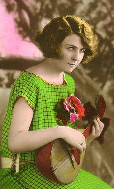 Hand-tinted 1920s ukulele photo