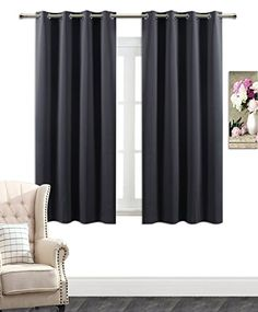 Blackout Room Darkening Curtains Window Panel Drapes   Grey Color  2 Panel Set 52 Inch Wide by 63 Inch Long Each Panel 8 Grommets  Rings Per Panel  by AmazonCurtains -- Visit the image link more details.