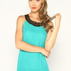 Teal Top with Studded Collar