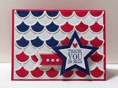 Peanuts and Peppers Papercrafting: Make It Monday - Stampin' Up! Scalloped Thinlits Die Flag Card (Happy Memorial Day!)