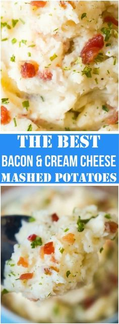 Bacon Cream Cheese Mashed Potatoes are an easy side dish for. Bacon Cream Cheese Mashed Potatoes are an easy side dish for almost any dinner. These creamy potatoes with a hint of garlic would be a great side for your Christmas or Thanksgiving meal. Vegetable Side Dishes, Side Dishes Easy, Side Dish Recipes, Easy Dinner Recipes, Vegetable Recipes, Easy Meals, Dinner Ideas, Main Dishes, Dinner Reciepes