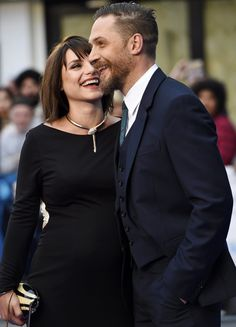 tom hardy and wife, charlotte riley at legend premiere in London