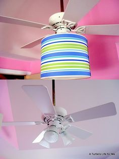 cool idea; replace glass shades with a large, single lamp shade on ceiling fan