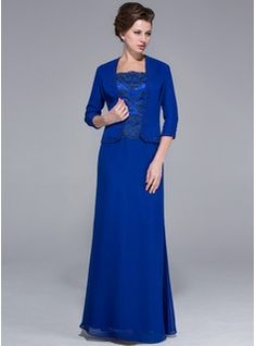 Mother of the Bride Dresses - $162.99 - Sheath Square Neckline Floor-Length Chiffon Charmeuse Mother of the Bride Dress With Lace  http://www.dressfirst.com/Sheath-Square-Neckline-Floor-Length-Chiffon-Charmeuse-Mother-Of-The-Bride-Dress-With-Lace-008025767-g25767