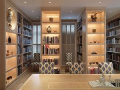 Tim Gosling Fitted library in wood veneer - Luxury Bespoke Furniture Gosling Ltd. - Gosling libraries range from individual cabinets to entire fitted rooms, designed specifically for use as reading rooms and to store treasured and valuable book collections. A must for any bibliophile, with attention paid to the illumination and protection of the books! The shelves and panelling, whether classical or cutting edge, are always created to frame and enhance the contents rather than overpower…