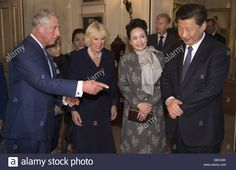 President of The People's Republic of China, Mr Xi Jinping and China's First Lady Peng Liyuan, meet the Prince of Wales and the Duchess of Cornwall at Clarence House, London for China Tea on the first day of the President's state visit to the UK. Stock Photo Peng Liyuan, Clarence House, Duchess Of Cornwall, Prince Of Wales, The One, Presidents, Law, Meet, China