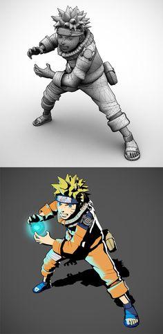 naruto,3d,maya,toon shader,character
