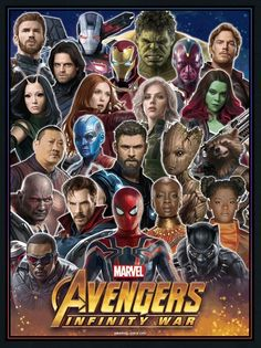 Avengers: Infinity War || Sam Wilson (Falcon),Peter Parker (Iron Spider),T'Challa (Black Panther),Shuri,Okoye,Doctor Strange,Drax,Wong,Nebula,Thor Odinson,Groot,Rocket Raccoon,Gamora,Natasha Romanoff (Black Widow),Wanda Maximoff (Scarlet Witch),Mantis, Bucky Barnes (Winter Soldier),Steve Rogers (Captain America),Rhodey Rhodes (War Machine),Tony Stark (Iron Man),Hulk,Vision,Peter Quill (Star-Lord)