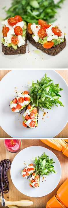 Breakfast that packs a punch! Quinoa Courgette Toast topped with smashed avocado, feta and juicy tomatoes. Washed down with our Love Smoothie, a creamy blend of beetroot, blood orange and avocado.