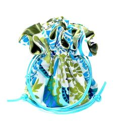 Organizer bridal Pouch Jewelry Drawstring Travel Bag Bridesmaids Wedding Gift for bird lovers Birds and flowers in Grenand Turquoise