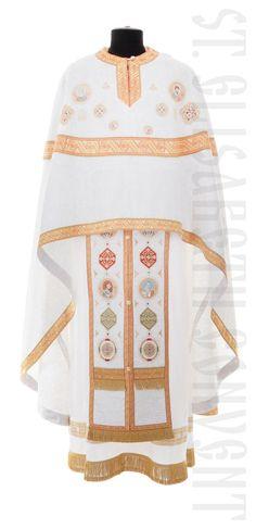 Greek Style Priest Vestment with Embroidered Icons      Order here: https://catalog.obitel-minsk.com/priest-vestment-sh-20-68.html       #CatalogOfGoodDeeds #OrthodoxVestments #PriestVestments