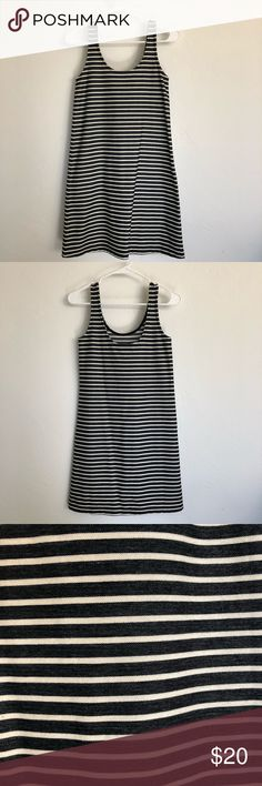 "Madewell Striped Tank Dress XXS This striped tank dress comes in a lightly textured knit that's perfect for layering. - Nonwaisted - Falls 34 5/8"" from highest point of bodice - Cotton/poly - Machine wash Madewell Dresses"