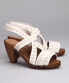 Take a look at this White Wood Karen Cone Sandal - Women by Sanita Clogs on #zulily today!