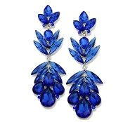 Sapphire Royal Blue Crystal Earrings Elegant Prom Formal Jewelry