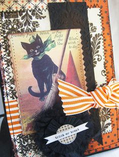 Vintage Black Cat Halloween Card
