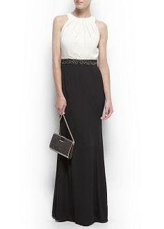 Vestido largo bicolor