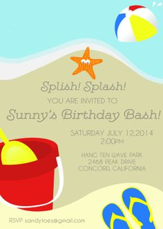 Beach Birthday Party Invitation Summer Theme Ball 60th
