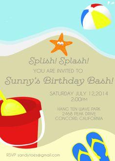 Beach Birthday Party Invitation Summer Theme Ball