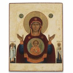 Russian Icon of the Mother of God of the Sign, circa 1800 I Love You Mother, Mother Mary, Russian Icons, Russian Art, Holy Mary, Art Thou, Religious Icons, Orthodox Icons, Our Lady