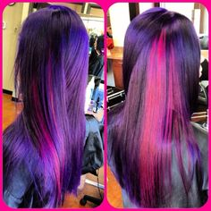 Now that is some Twilight Sparkle hair. Black with Pravana violet and magenta - All For Hair Color Trending Hair Dye Colors, Red Hair Color, Funky Hairstyles, Pretty Hairstyles, Love Hair, Gorgeous Hair, Pravana, Cabello Zayn Malik, Coiffure Hair