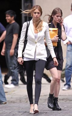 Whitney Port wearing Christian Louboutin Miss Boxe Wedge Pumps.