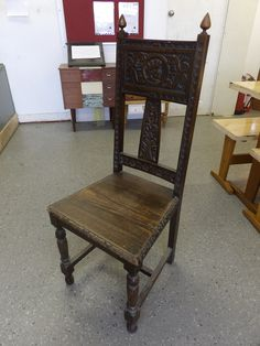 Carved Hallway Chair In The Recycled Goods Factory Showroom ---- Good Condition £35 (PC688)