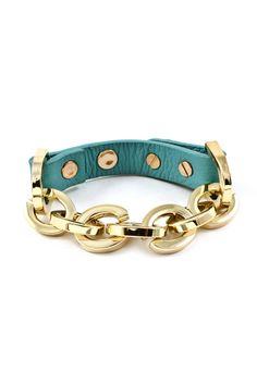 Danica Bracelet in Turquoise + Gold Links