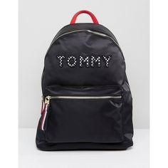 1d12b7cf2b8d Tommy Hilfiger Logo Backpack With Checkerboard Straps ( 140) ❤ liked on Polyvore  featuring bags