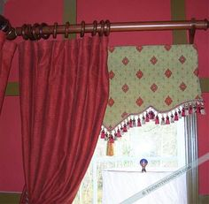Scalloped Vermont Valance under red drapery - Priority Window Valances