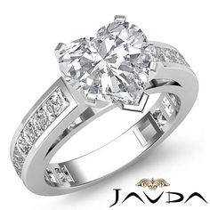 Glistening Heart Diamond Channel Engagement Ring GIA G SI1 14k White Gold 2.2 ct in Jewelry & Watches, Engagement & Wedding, Engagement Rings | eBay
