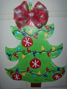 Wooden Christmas Tree Door Hanger Or Table Topper