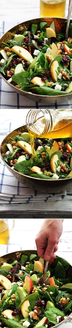 Tasty Salad Apple Cranberry with Walnut for a Healthy week-end