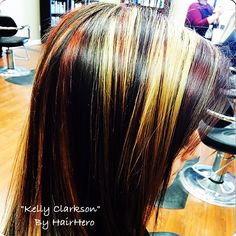 Red,blond,brown slices by:HairHero