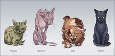 Funny memes Four cats of the apocalypse. Les Quatre Cavaliers, Kawaii, Horsemen Of The Apocalypse, Me Anime, Fandoms, Wow Art, Cool Stuff, Warrior Cats, Tumblr Funny