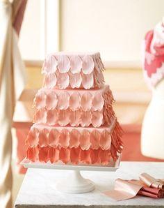 ombre peach wedding cake via Polka Dot Bride