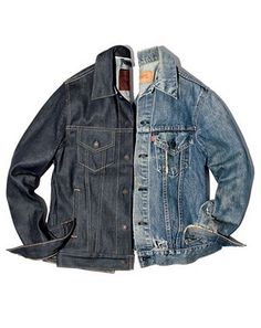 Levi's denim trucker jacket, before and after.
