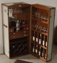 """Excellent """"bar furniture cabinet"""" detail is offered on our site. Drinks Cabinet, Liquor Cabinet, Bar Furniture, Furniture Makeover, Vintage Steamer Trunk, Trunk Makeover, Portable Bar, Campaign Furniture, Bar Cart Decor"""