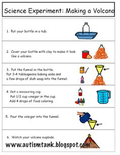 Landforms Unit Experiment: Visual directions for making a volcano… Volcano Science Projects, Science Week, Science Projects For Kids, Science Party, Science Activities For Kids, Teaching Science, Earth Science, Senses Activities, Montessori Science