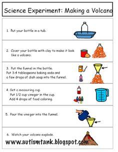 Landforms Unit Experiment: Visual directions for making a volcano! www.autismtank.blogspot.com
