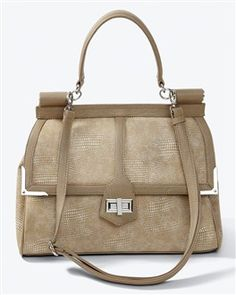 Natural exotic satchel. White House Black Market. $88