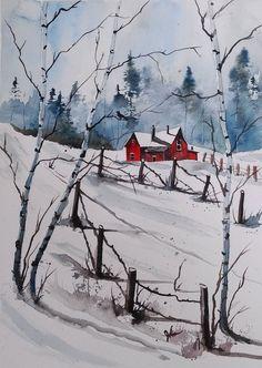 ORIGINAL painting watercolor painting original by pinetreeart