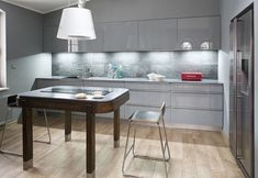 small kitchen design ideas modern grey kitchen cabinets under cabinet lighting white pendant light